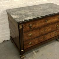 Lions paw French Empire marble top chest of drawers (8 of 10)