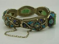 Superb Chinese Solid Silver Gilt Enamel & Jade Bracelet c.1920 Antique (4 of 12)