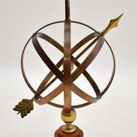 Brass & Teak Armillary Sphere Vintage Table Lamp (5 of 11)