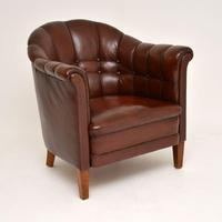 Pair of Antique Swedish Leather Armchairs (8 of 10)
