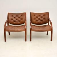 Pair of Scandinavian Bentwood & Leather Vintage Armchairs (2 of 14)