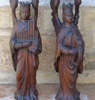 Good Pair of Carved Oak Angels 19th Century (10 of 12)