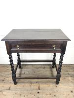 Antique Oak Side Table with Drawer (3 of 10)