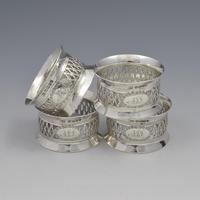 Cased Set 4 Victorian Silver Napkin Rings Nautical / Fishing Theme (4 of 10)