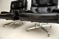 Pair of Vintage Leather / Chrome Armchairs & Ottoman by Howard Keith (14 of 16)
