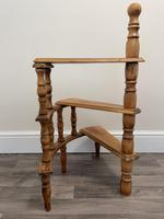 Victorian Style Light Oak Library Spiral Curved Step Ladder Stand (19 of 24)