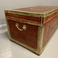 Unusual red leather and brass bound camphor trunk chest (3 of 10)