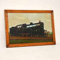 Antique Victorian Oil Painting Steam Locomotive Train