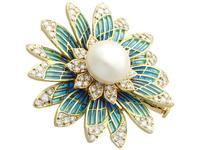 Pearl and 2.05 ct Diamond, 14ct Yellow Gold Plique-a-Jour Brooch - Vintage Circa 1950 (8 of 9)