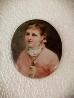 Lovely Miniature Framed Porcelain Plaque of Young Lady