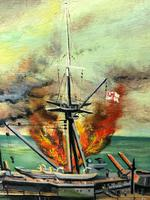 "Large Seascape Oil Painting WW2 Battle ""HMS Battleship Hood The Last Moments"" (7 of 12)"