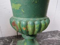 Pair Antique Cast Iron Medici Urns (4 of 7)