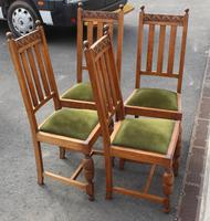 1940's Set 4 Light Oak Highback Chairs with Pop out Seats (2 of 3)