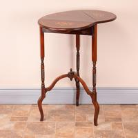 Edwardian Inlaid Rosewood Drop Leaf Occasional Table (8 of 23)