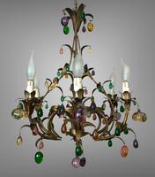 Murano Glass Fruit Venetian 6 Arm Toleware Ceiling Light Chandelier (3 of 9)