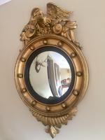 Fine Irish Regency Gold Giltwood Convex Mirror with Eagle Crest (3 of 6)