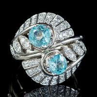 Vintage Blue Zircon Diamond Cocktail Ring 18ct White Gold c.1950