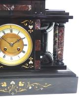 Amazing Mappin & Webb French Slate & Marble Mantel Clock 8 Day Striking Mantle Clock (10 of 10)