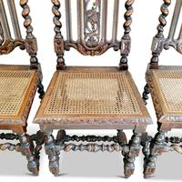 Set of 4 Victorian, Carolean Style Oak Dining Chairs (2 of 6)