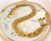 Antique Pocket Watch Chain 1920s Large Brass Fancy Link Albert New Old Stock (3 of 12)