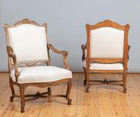 Pair of Large French Walnut & Parcel-Gilt Armchairs (3 of 10)