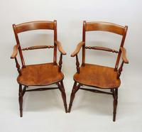 Pair of Victorian Rope Back Oxford Chairs in Elm & Beech