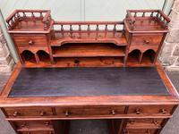 Antique Anglo Indian Teak Pedestal Writing Desk (5 of 13)