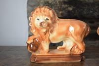 Large 19th Century Staffordshire Pottery Lions (3 of 10)