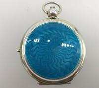 Silver Gilded Guilloche Enamel Pendant Compact Cohen & Charles London c.1920 (3 of 9)