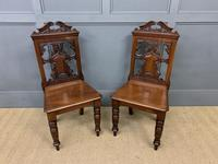 Good Pair of Victorian Walnut Hall Chairs