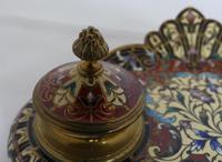 Beautiful French 19th century champleve enamel desk set (5 of 6)