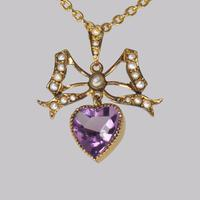 Antique Seed Pearl & Amethyst Pendant 15ct Gold Victorian / Edwardian Necklace (2 of 10)