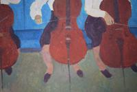 Mid Century Oil Painting on Board Three Cellists by Horas Kennedy (6 of 9)