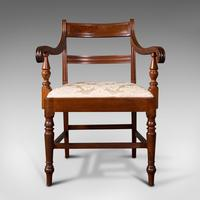 Set of 4, Antique Dining Chairs, English, Mahogany, Pair Of Carvers, Regency (3 of 12)