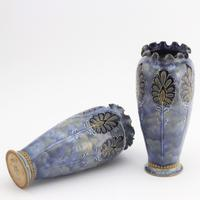 Pair of Royal Doulton Stoneware Art Nouveau Vases by Eliza Simmance c1903 (8 of 11)