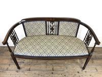 Antique Edwardian Mahogany Inlaid Parlour Sofa (2 of 15)