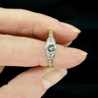 Art Deco 18ct Platinum Old Cut Diamond Solitaire Engagement Ring 0.35ct c.1920 (9 of 11)
