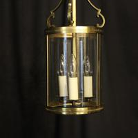 French Convex Gilded Triple Light Hall Antique Lantern (4 of 10)