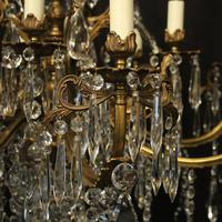 French 12 Light Gilded Bronze Antique Chandelier (7 of 10)