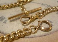 Antique Pocket Watch Chain 1890 Victorian 12ct Rose Gold Filled Albert With T Bar (8 of 12)