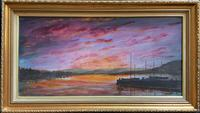 Sunset - Large Attractive Original 20th Century Vintage Seascape Oil Painting