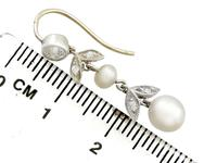 0.56ct Diamond & Natural Pearl, 9ct Yellow Gold Drop Earrings - Antique c.1880 (7 of 9)