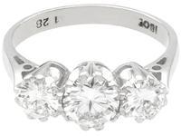 1.89ct Diamond & 18ct White Gold Trilogy Ring c.1950 (4 of 9)