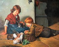 Huge Stunning 20thc Oil Portrait Painting Of 2 Children Playing In A Barn (4 of 12)