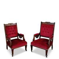 Two Arts & Crafts Fireside Chairs on Castors (2 of 13)