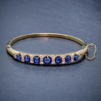 Antique Victorian Sapphire Diamond Bangle 18ct Gold 5.46ct Of Natural Sapphire With Cert (4 of 7)