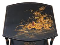Victorian Oriental Chinoiserie Nest of Decorated Black Lacquer Tables (9 of 10)