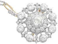 6.10ct Diamond & 9ct Yellow Gold Brooch / Pendant - Antique Victorian (4 of 15)