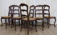 Six Oak & Rush Seated Dining Chairs (4 of 8)