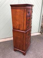 Antique Slim Burr Walnut Chest on Chest (4 of 8)